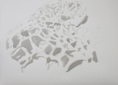 Gestein, Tusche auf Büttenpapier, 2020, 56x76 cm