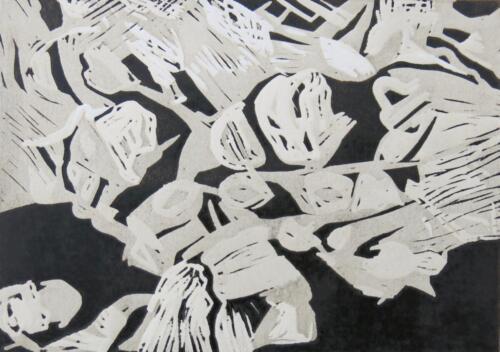 gefunden im Stein, Linolschnitt, 2017