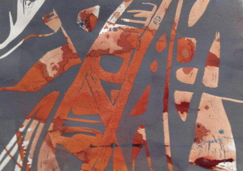 gefunden im Stein, Linoldruck auf Malerei, 2017