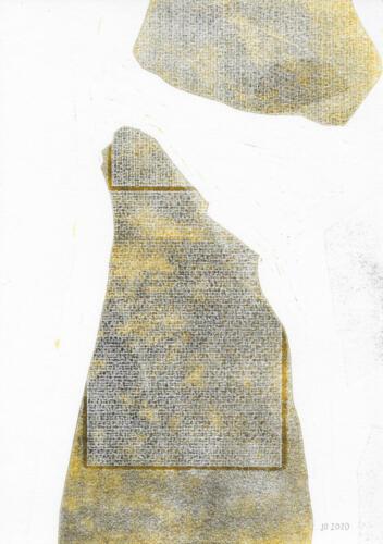 Gestein, Linoldruck auf Papier, 2020, 30x21 cm